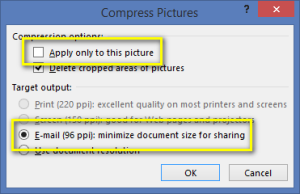 Format Tab - Compress PIcture options