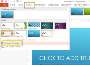 PowerPoint Design Tab - Browse for Themes