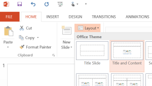 PowerPoint Layout Menu