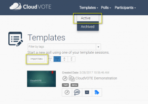 Import a new CloudVOTE Template