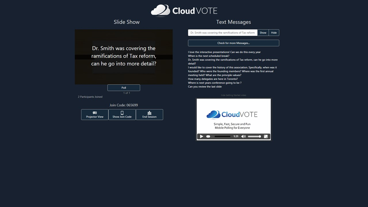 CloudVOTE Texting App - Moderator